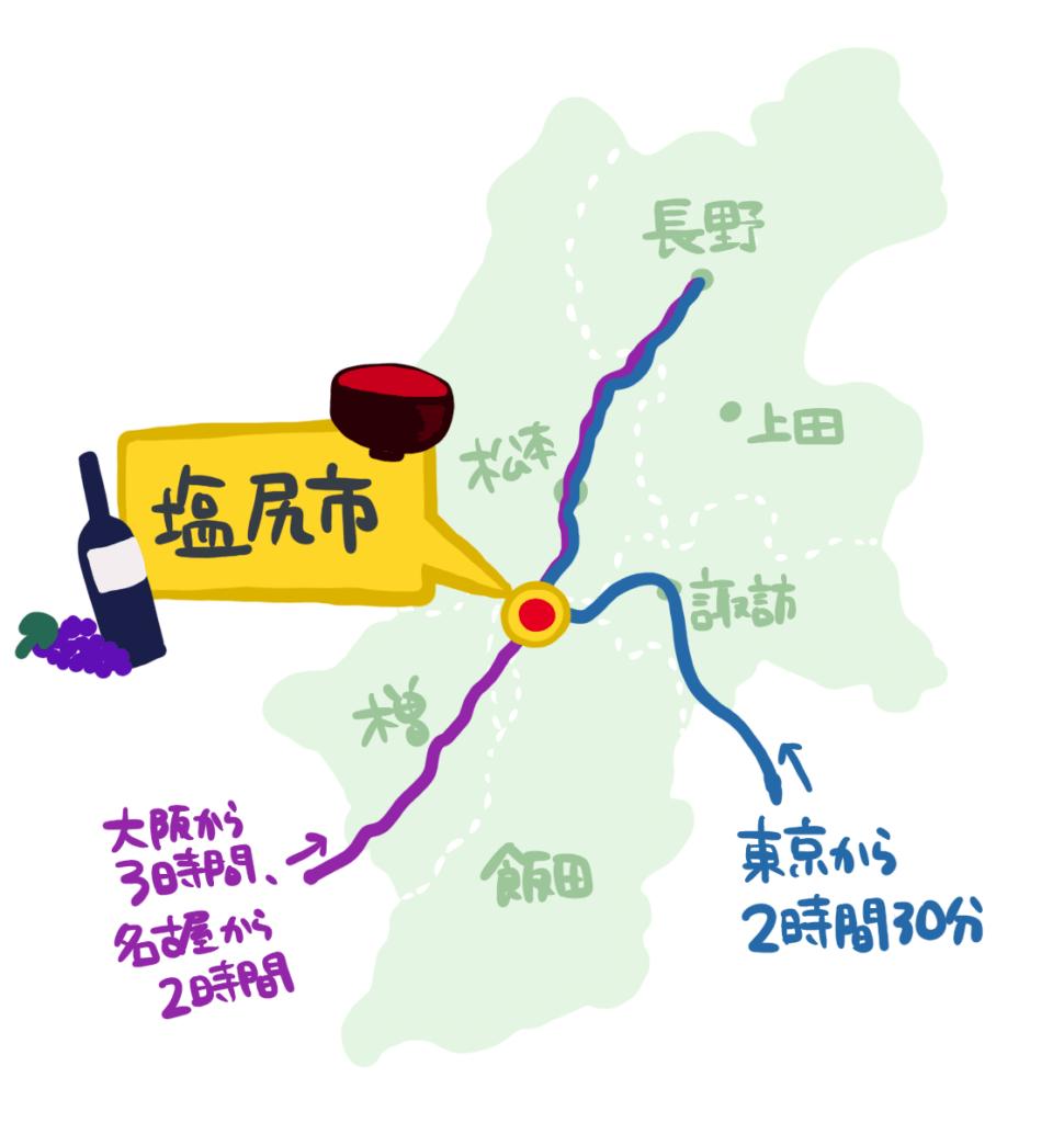 塩尻市の特急電車アクセス